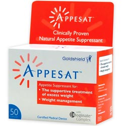 Appesat diet pills contain a seaweed extract that swells in the stomach and helps make you feel full sooner when eating a meal.